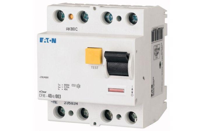 Wyłącznik różnicowoprądowy 4-bieg. CFI6 40A 30mA AC, CFI6-40/4/003-DE | 235784 Eaton