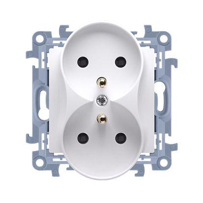 Gniazdo wtyczkowe podwójne z/u 16A, 250V, zaciski śrubowe, biały Simon 10   CGZ2M.01/11 Kontakt Simon