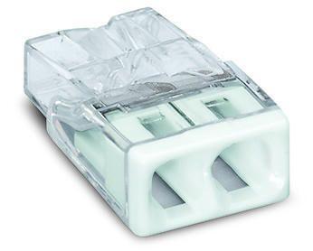 Złączka instalacyjna Compact 2-przewodowa,2x2,5mm2, przezr. z białą pokrywą | 2273-202 Wago
