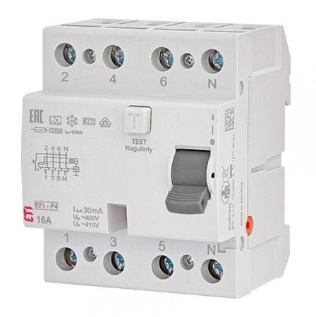 Wyłącznik różnicowoprądowy 4P 40A 0,03A typ AC EFI6-P4 | 002061652 Eti
