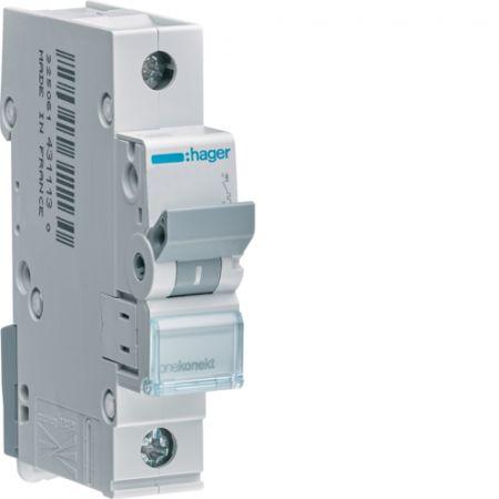 Wyłącznik nadprądowy Icn=6000A 1P B 16A MCB | MBN116E Hager