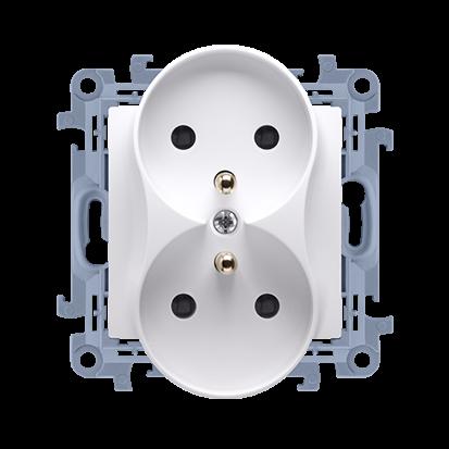 Gniazdo wtyczkowe podwójne z/u 16A, 250V, zaciski śrubowe, biały Simon 10 | CGZ2M.01/11 Kontakt Simon